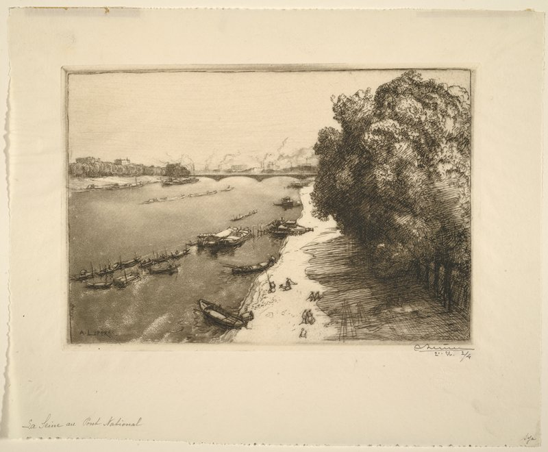 boats on water; figures on shore at bottom center; trees at right; smoke over buildings in distance