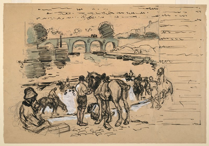 bridge with arches, ULQ; man with horse at center; seated figure, LLC; other figures with horses at water's edge and in water