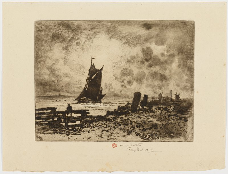 silhouette of sailboat left of center; silhouette of man sitting on wood structure in LLQ; cloudy sky