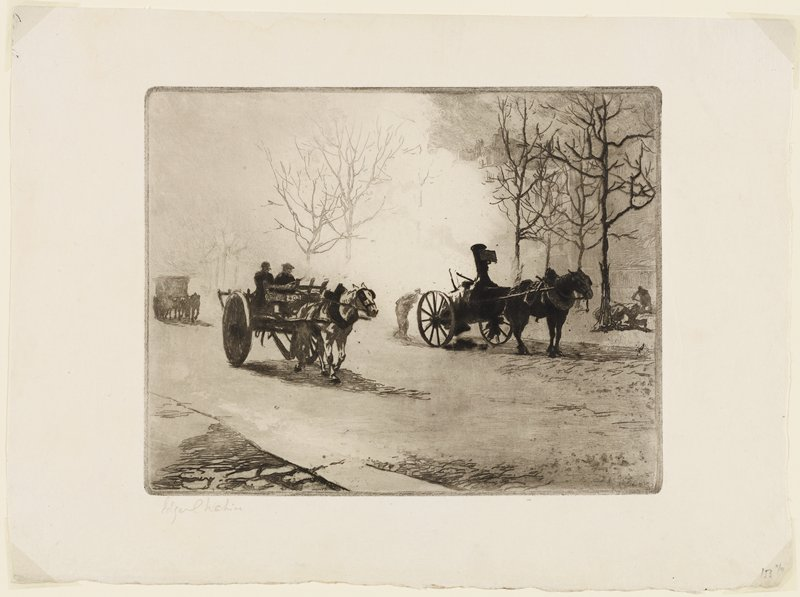 three horse-drawn wagons on road; bare trees