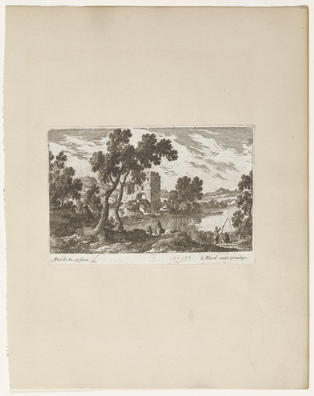 trees at left; square building with arch left center; pond or stream center and right; small boat in water; seated figure on right with fishing pole with standing woman behind; two figures on road at left, one mounted