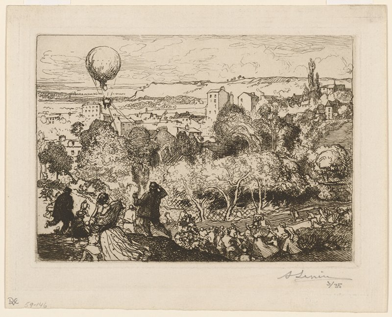 air balloon, ULC; many people rushing toward balloon from hill in foreground; view down into valley with trees in middle ground and buildings in background