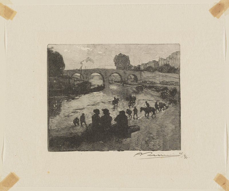 silhouettes of people seated at bottom center; other silhouettes of people on horseback and figures on shore; bridge with arches at center back