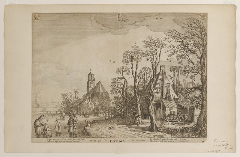 large church center right; house right; village and windmill middle distance left; frozen river with skaters foreground; bridge over river between house and church; at top in clouds: two fish at right; kneeling figure at center; animal with horned head, cloven hoofs and mermaid's tail
