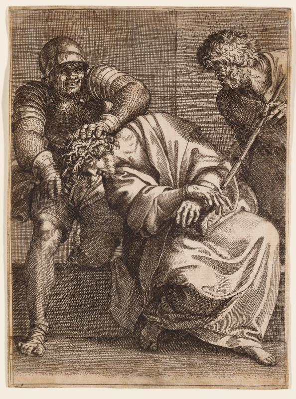 Christ seated on a step, wearing a long robe and crown of thorns, leaning toward his PR; soldier in armor at left pushes Christ's head down; bearded man with shaggy hair at right pokes at Christ with a short stick