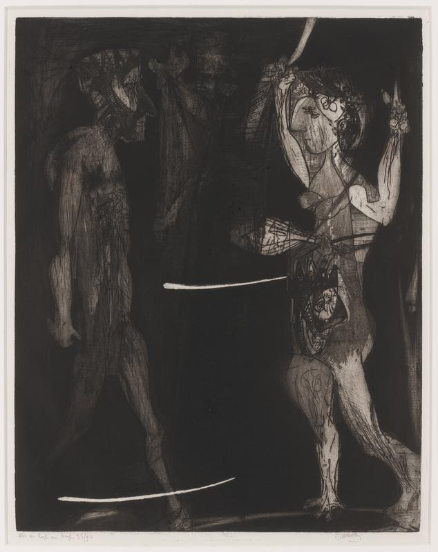 black and white; figure at R stands with arms raised; figure on L with mask-like face stands in profile, L leg forward in stride: wood frame