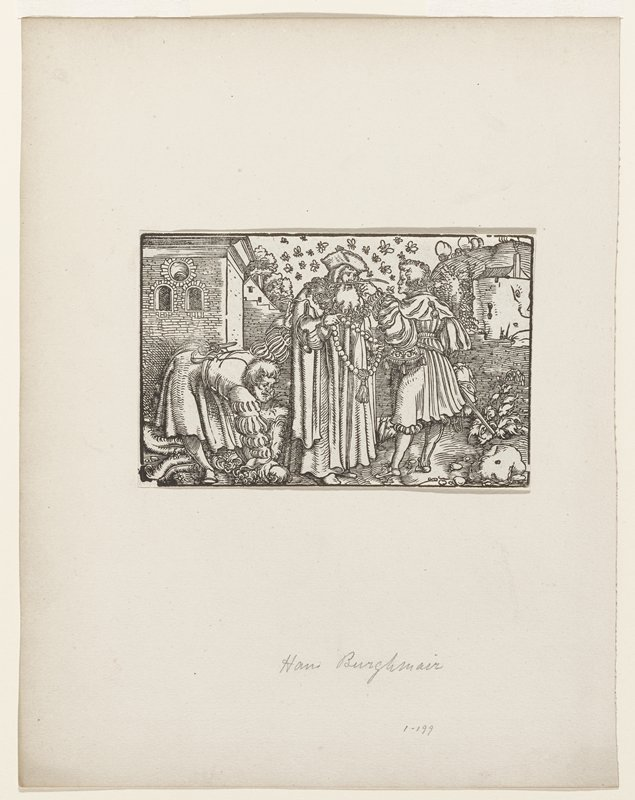 three men; two standing and one bending over to pick up a hat(?); center figure holding necklace of beads with tassel at center; man at right bare headed wearing sword; rocky street with buildings right and left sides; bees circling the head of center figure