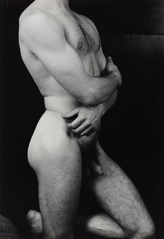 torso and upper legs of nude man, in profile from PR