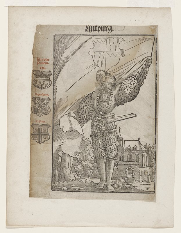"man looking down right with rod in left hand; banner(?) attached to rod and ends to left of right arm; partial coat of arms above head; church behind and below figure; three coats of arms in left margin; on verso another image with title ""Giramburg"" and three crows on banner"
