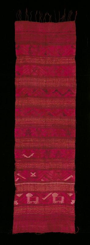 plain weave/supplementary weft; pink, fushia, metallic gold, violet
