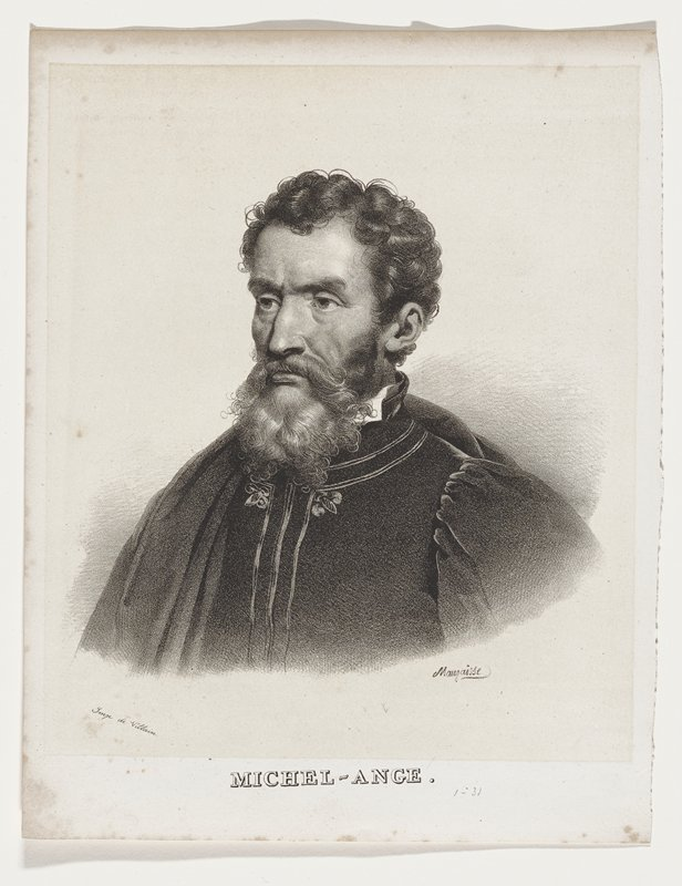portrait bust of bearded man with curly hair looking left; 3/4 view; cloak over right shoulder; jacket with high collar and 3 stripes down front