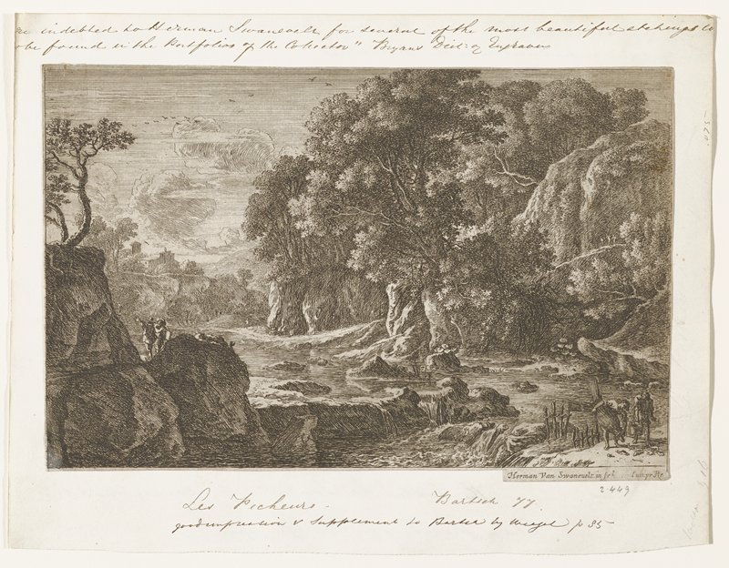 river scene with high banks on either side; forest on right, single tree at top of left bank; buildings in left distance; 2 figures conversing on left bank; 2 fishermen on right removing fish from net; 3 very small figures on road on right bank above fishermen and one figure in right distance
