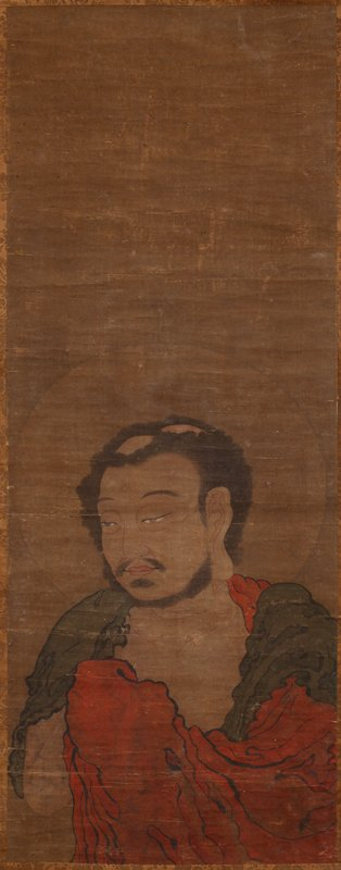 male figure at lower half of image with a halo, two bald spots, fluffy black hair, and a close-trimmed beard and moustache, wearing a black and red cloak