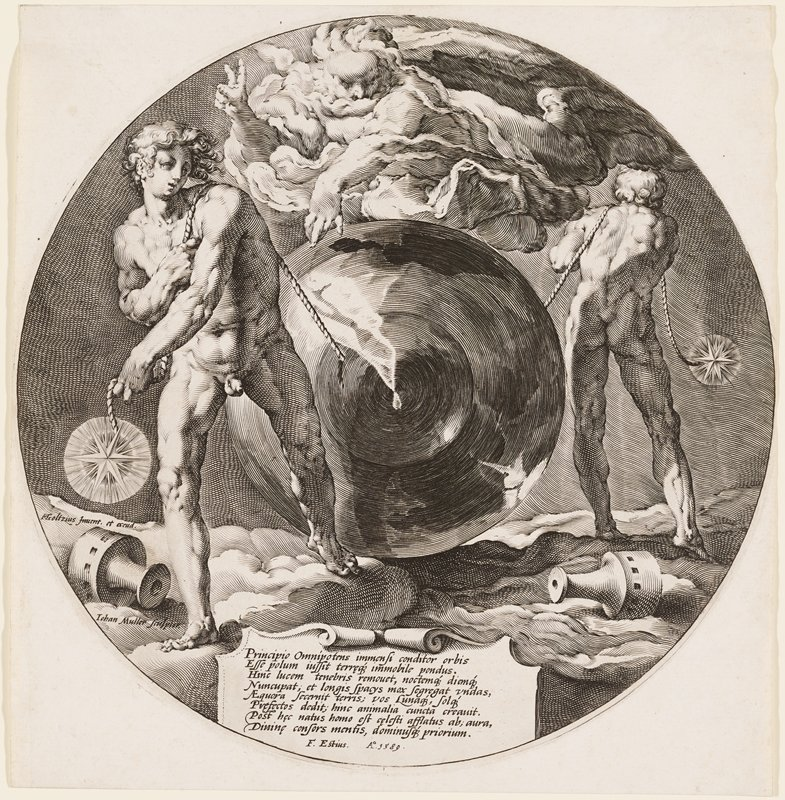black and white engraving of two male figures with ropes walking in opposite directions with a circular form between them; figure floating overhead; two toppled cups lay at their feet