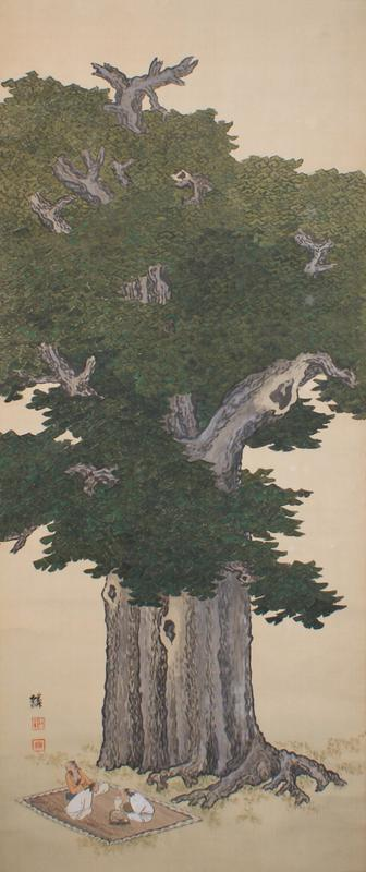 three male figures sitting on an outstretched blanket enjoying a picnic at LL; gigantic gingko tree occupies majority of image