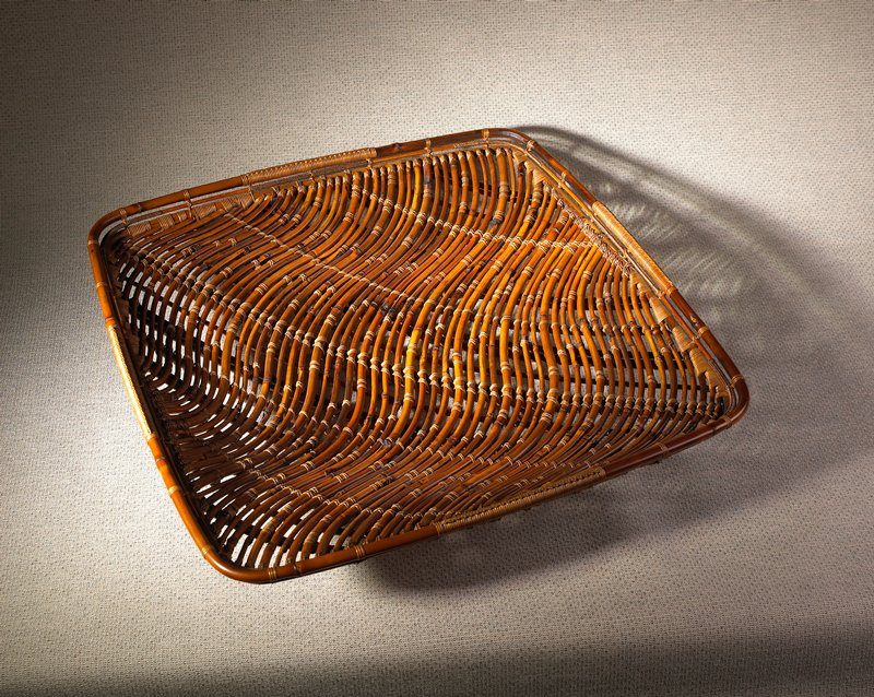 square form with waving pattern open weave, round bamboo pieces; decorative knotting