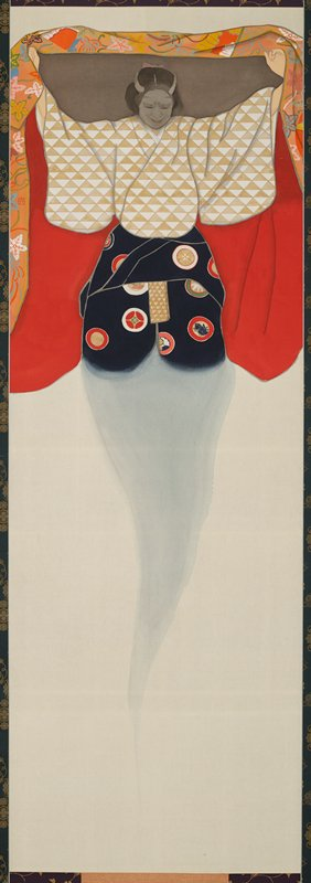 ghostlike female figure with ashen grey face and horns holds a brilliantly colored red and orange robe like a canopy over body; arms spread outward; figure wears gold and white triangle patterned top and navy blue bottom with brilliantly colored circles; top and bottom mount are painted with silver