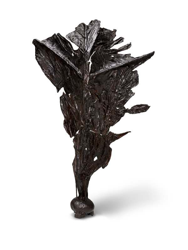 4-part sculpture composed of long, black leaf like forms highlighted with red pigment, eminating from base like a fountain when assembled