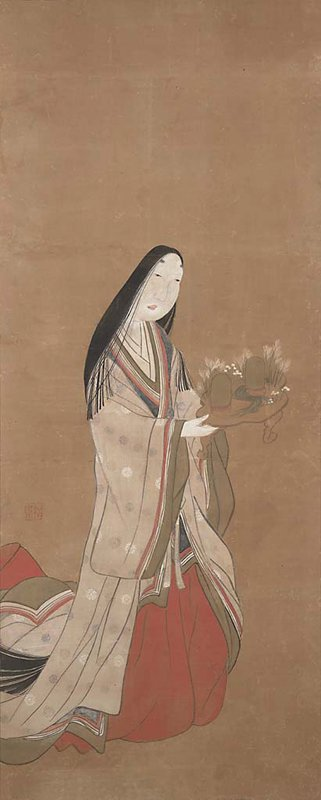 woman in sumptuous, flowing robes with long black hair and high, painted eyebrows carrying a very small table; cream colored outer robe with gold, blue, and white flower pattern; olive green, blue, white, and red detail at cuffs and front lining; deep red inner robe; table contains two domed objects with legs and a miniature landscape with a small stream running through the center and blossoming foliage around back edges
