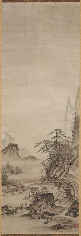 one of a pair of landscapes, right; once grouped with a white-robed Kannon that was placed in the center; tall, vertical rock formation at L; water at R with a boat and more rock formations and a flock of birds in the background; in foreground, smaller rock formation with pine trees, small village, and two men walking away from fishing boat