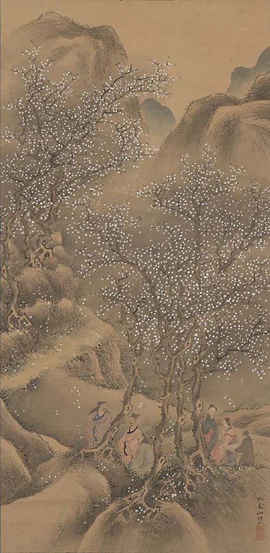 mountain valley landscape with blossoming plum trees; two groups of three people in lower quadrant, standing among trees; many white blossoms falling from trees