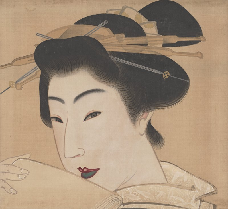 unsigned; 3/4 portrait of woman holding a folded stack of papers of tissues up to her mouth with PR hand; coy expression; facing PR; lightly decorated cream colored kimono collar; silver and gold colored hair ornament; green lower lip