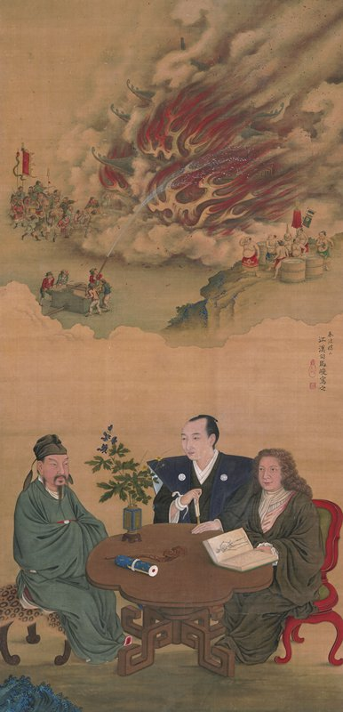 three men, one Chinese, one Japanese, and one Western, gathered around a table, the Western man holds a book with a skeleton on the page; white snake wrapped around Japanese man's PR wrist; in background, groups of men gather to extinguish a building engulfed in flame; a group of men look on from a cliff