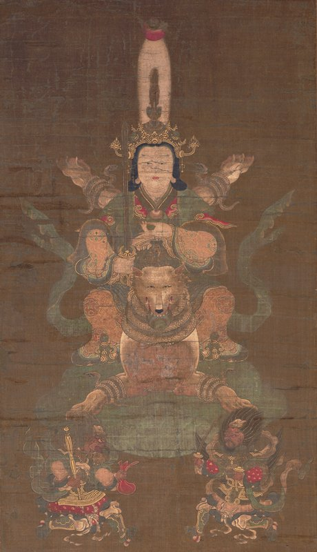 female figure in elaborate head dress, PL hand in gesture near chest, riding on a fox; fox is flying on green cloud with legs extended; snakes wrapped around fox's legs; two smaller figures kneeling in foreground