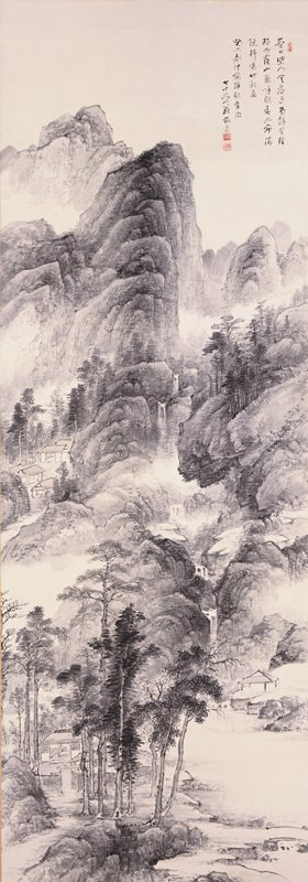 prominent cluster of trees in foreground surrounding a small hut; tranquil body of water on LR with smaller, wallless hut on R banks; main landscape in background; towering, columnar mountain with trees, a series of waterfalls, and a small collection of buildings on L edge; poem at URC