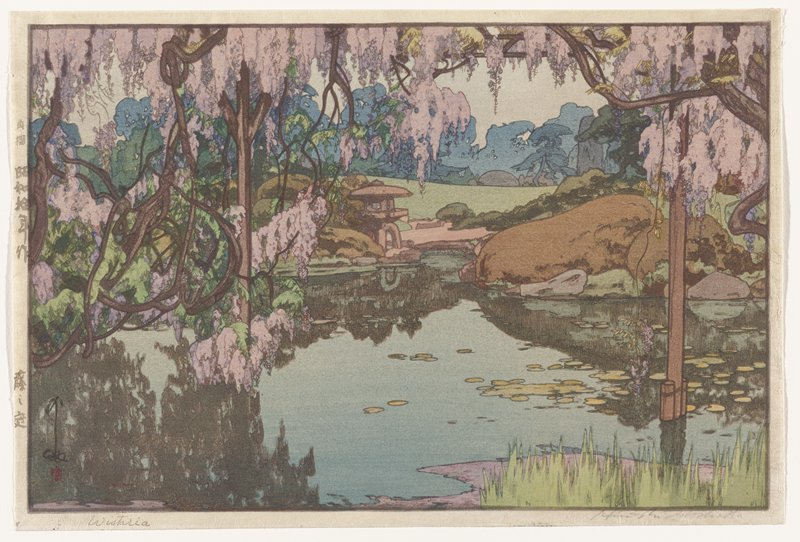 large garden pond with lily pads; boulders, stone lantern, rolling green turf in middle ground; silhouettes of foliage in background; tangled, blossoming wisteria dominates the frame