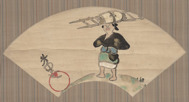 woman in black cloak with gold detail, blue obi, green and white skirt; carrying large parcel on rack over head; bold outlines