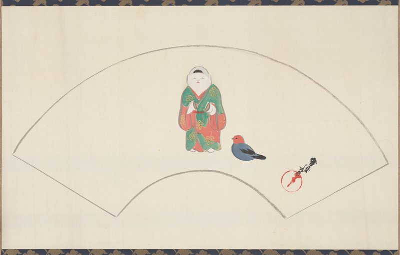 fan-shaped painting of little human figure in green and red robe with an object in each hand; small blue bird with red head at figure's PL; signature and seal LLQ inside fan outline