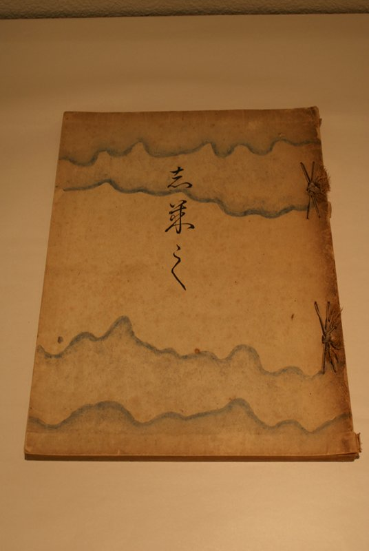 string-bound book of block printed images of birds, landscapes, trees, and foliage; decorated paper cover with blue wavy fibers; two color images at beginning