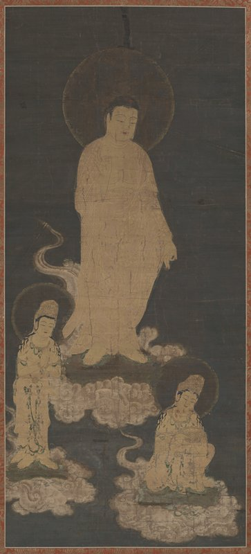 golden Buddha figure with halo stands on a cloud at center; PL hand extended downward, index finger and thumb clasped in blessing gesture; PR hand bent upward with similar gesture; two other figures below Buddha painted in gold; figure at LL stands with hands together in front bowing subtly; LR figure kneels, admiring lotus-shaped object in hands