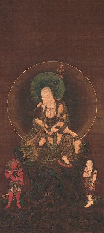 dark scene with seated figure in center with halo and holding staff; small red skinned figure in LLC and small white skinned figure in LRC