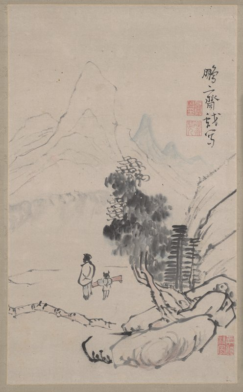 landscape with two figures: large rocks in foreground with trees; two figures facing away from viewer at LL, one is taller and wears a white coat, the other is shorter and carries a large red bundle; tall, narrow mountains in background at UL; blue mountains at UR