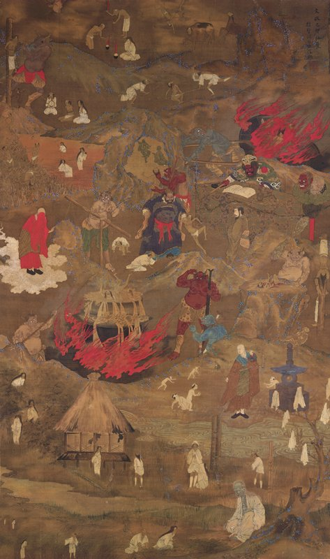 hell scene: large, red horned figure in lower center poking at large cauldron with people in boiling water; large flames lick sides of cauldron; large figure in black robes at center tossing man; red skinned figure behind desk with book pointing with PR hand; emaciated human figures ULQ seated near rice bowls on fire; emaciated humans in white near small hut lower quadrant; crawling naked children lower center; many other torture scenes