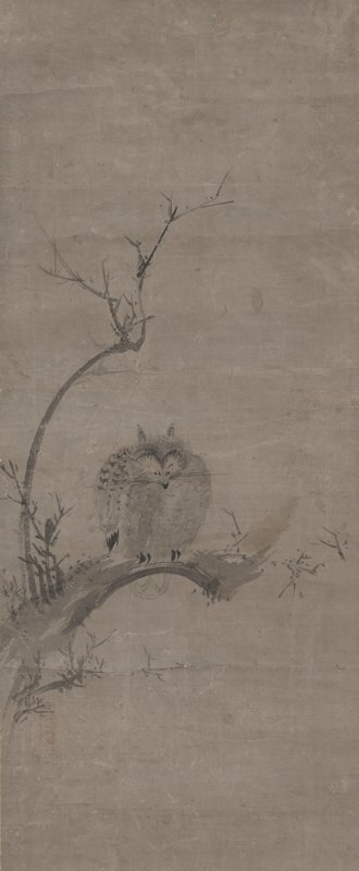 small owl perched on bent branch; dramatically pointed eyes, two horn-like tufts on either side of head; branch at L