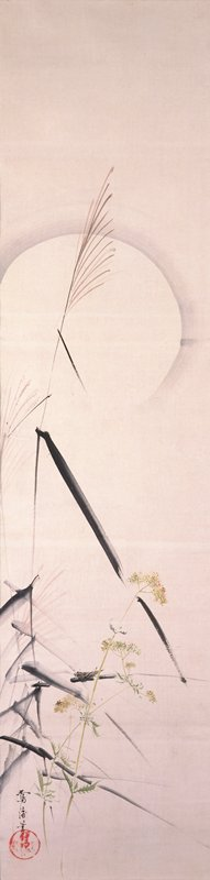 tall, thin black grasses at L with thin, wispy brown tufts at top; smaller plants with lacy leaves and pale yellow flowers at LL; grasshopper perched on horizontal leaf near lower center; full moon in background