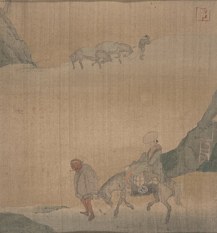 travelers on foot, with one on horseback in line heading towards shore; low, green banks with blossoming cherry trees on either side; three small boats in water; two rooftops at LRC