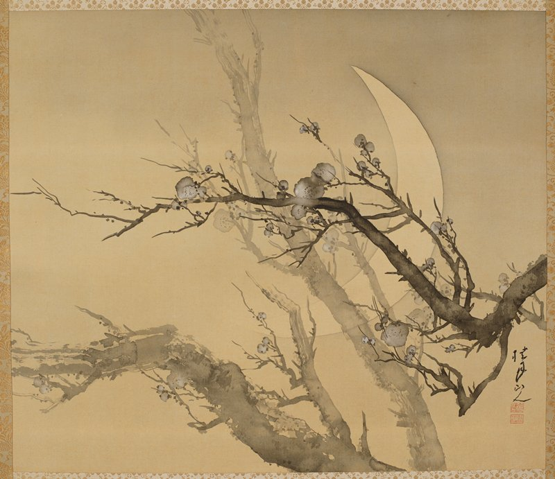 gnarled branches with blossoms against crescent moon in background; larger branches rising up from lower center; darker branch in foreground entering from R