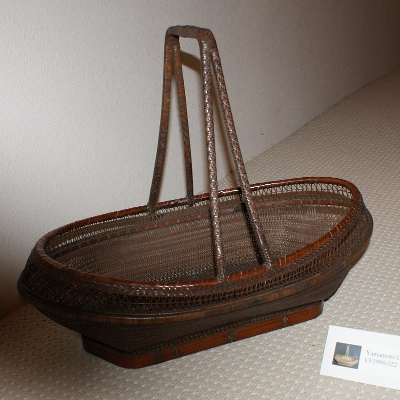 oblong basket with hexagonal base; open, crisscross weave; four-pronged square handle; copper tray