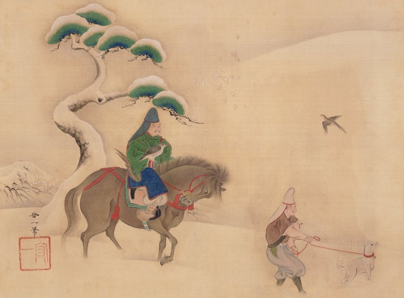 man on horse at L with falcon perched on PR wrist; horse is trudging through snow with head held down; man at R holding red leash attached to white dog; snow-covered tree at L; bird in flight at UR; a few snowflakes near center and L