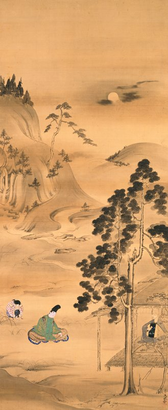 male figure inside hut at R playing lute with eyes shut; two figures a L observing: figure in green is seated, facing hut with head slightly bowed; smaller figure crouches, crossing hands over knee; landscape in background with rolling mountains, a waterfall, trees, moon URQ