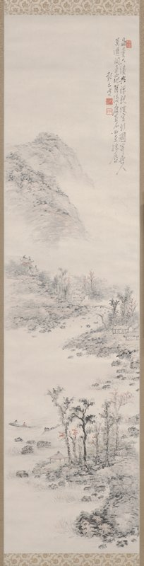 rocky shoreline with lightly colored trees; small pavilion near lower center; two fishing boats, one with a single figure, and the other with two figures at lower center; small buildings above to R of stone bridge; castle or temple complex at UL