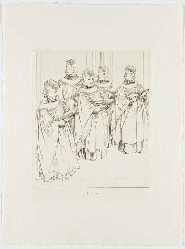 five boys dressed in layered robes holding large hymnals, standing and singing; wear ruffled collars; wall/pillars in background