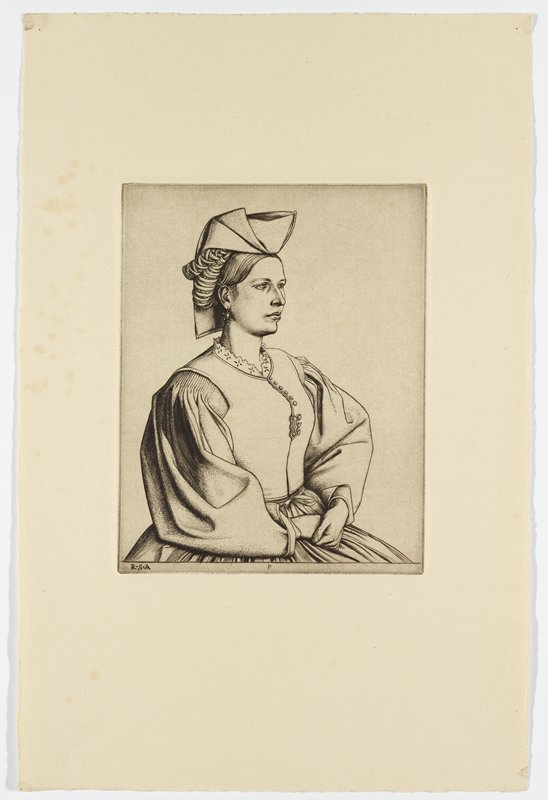 portrait of young woman with hands folded in lap; wearing folded hat that drapes down behind head