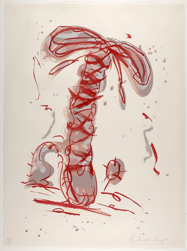 red and grey with puce; palm tree-like element in center--vertical crisscrossing shoelace with slightly drooping bow at top; U-shaped tennis shoe tongue in LLQ; some puce and grey spots and red and grey curving lines scattered around image