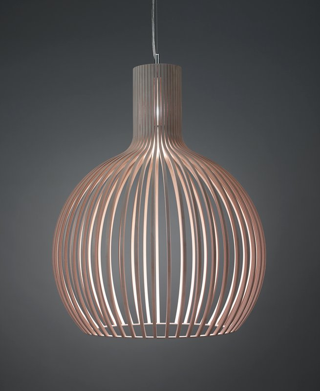 round, open-work chandelier style lamp with evenly spaced vertical bands of birch that gather together at the top
