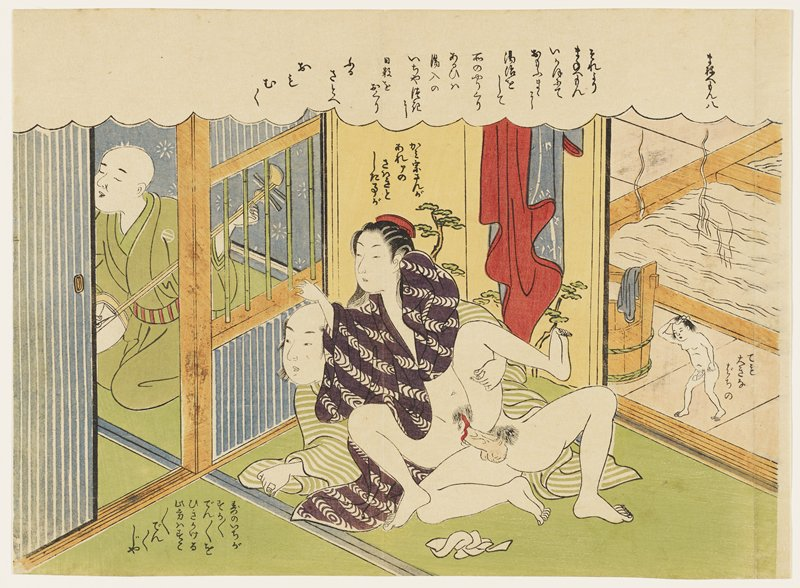 couple engaged in intercourse at center, while listening to man in a green kimono play the shamisen; woman wears purple and white kimono with bands of looped patterning; man wears a green and white striped kimono; tiny nude man at right drying his hair; hot water tubs and bucket at right; text in a cloud at top of image, to left of man in striped kimono, above woman and to right of small man